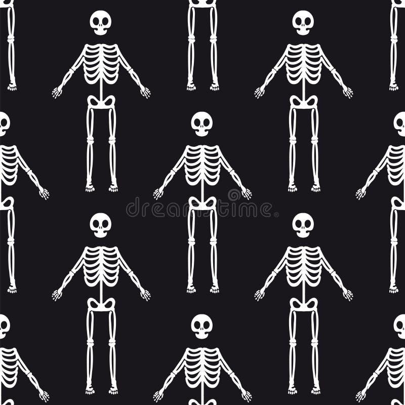 Sömlös modell med vita skelett stock illustrationer