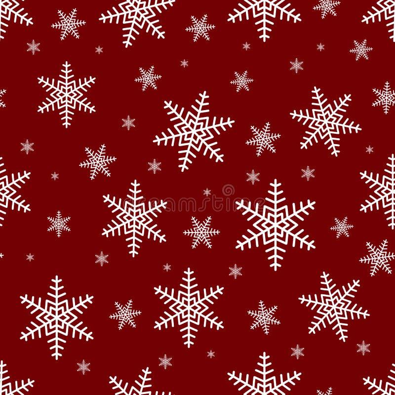 Sömlös modell med vita snöflingor på en röd bakgrund Glad jul sömlös modell, vektor royaltyfri illustrationer