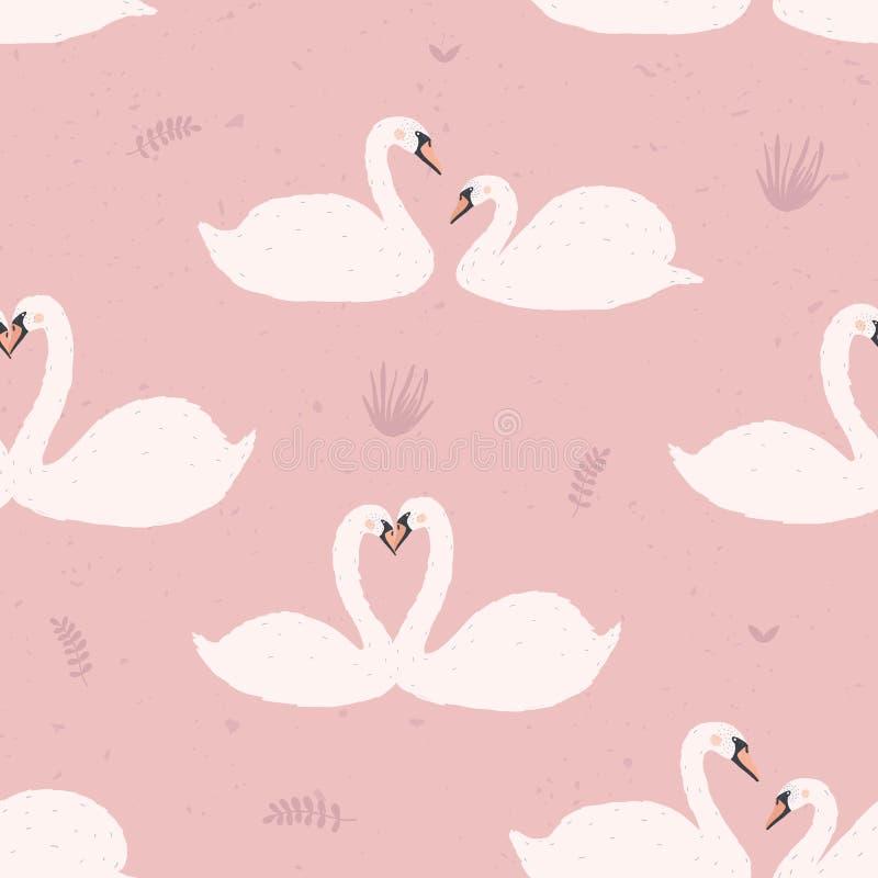 Sömlös modell med vita svanar Par för svan s på rosa bakgrund vektor för semester för färgrik begreppsillustration avslappnande stock illustrationer