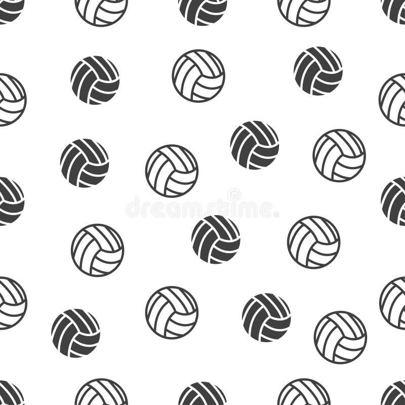 Sömlös modell med volleyboll på vit bakgrund vektor illustrationer