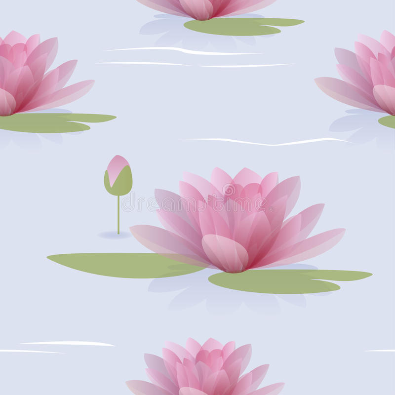 Sömlös modell med waterlilies royaltyfri illustrationer