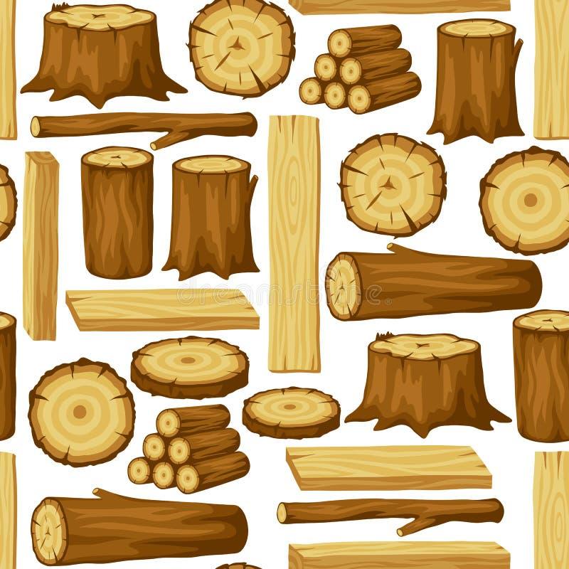 Sömlös modell med wood journaler, stammar och plankor Bakgrund för skogsbruk och bråtebransch royaltyfri illustrationer