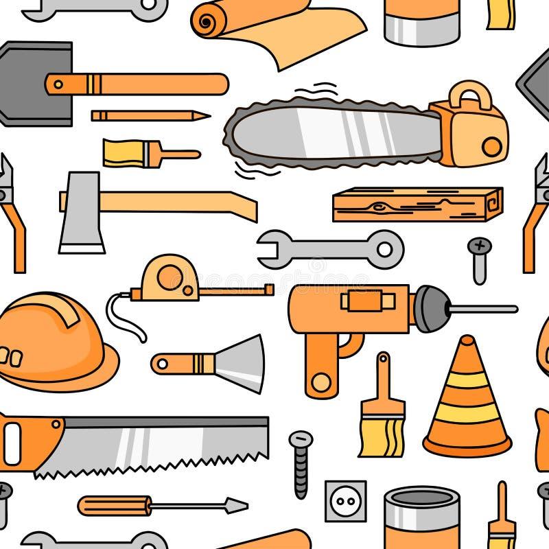 Sömlös modell med yxa, hjälmen, skruvmejsel, hammaren, linjalen och andra vektor illustrationer