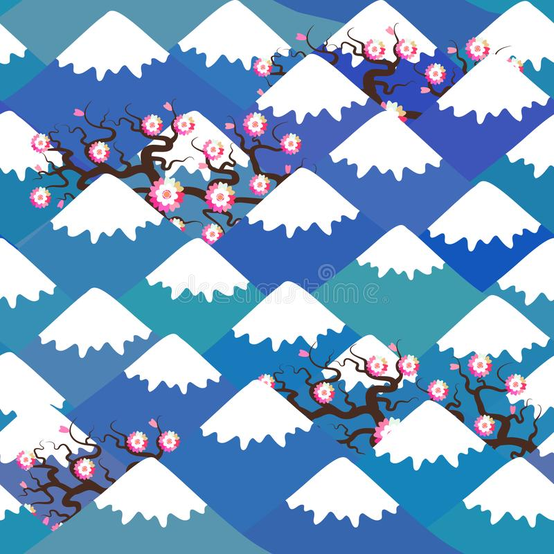 Sömlös modell Mount Fuji, vårnaturbakgrund med japanska körsbärsröda blomningar, sakura rosa blommalandskap blått berg vektor illustrationer