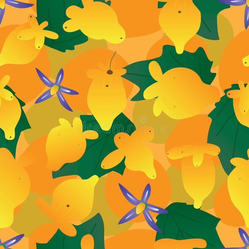 Sömlös modell Nipplefruit för orange färg stock illustrationer