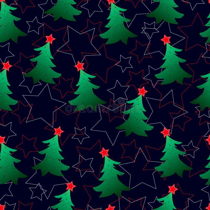 Sömlös modell, nya Year& x27; s-gräsplangran-träd royaltyfri bild