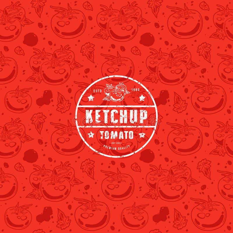 Sömlös modell och emblem för ketchup vektor illustrationer
