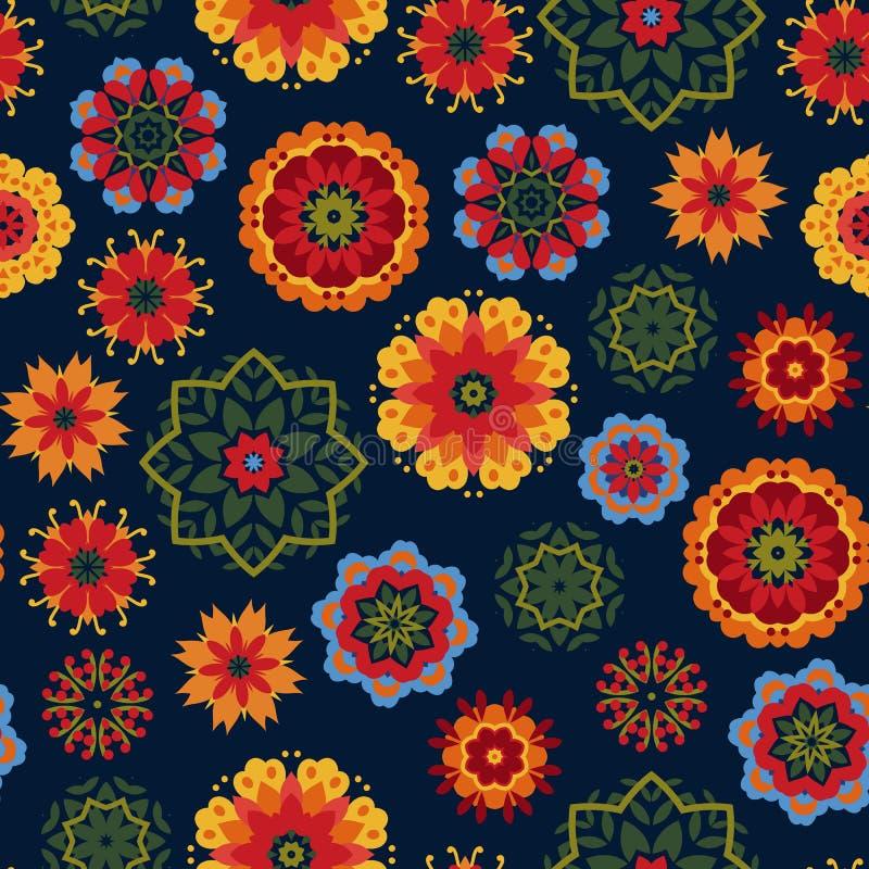 Sömlös modell på en mörk bakgrund med ljusa mångfärgade blommor i mexicansk stil Plan stil royaltyfri illustrationer