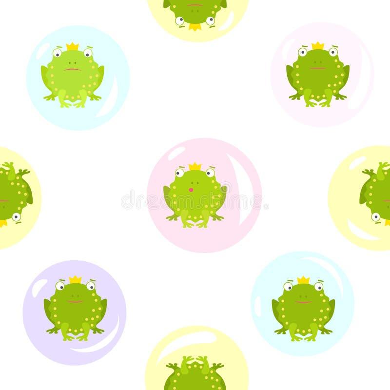 Sömlös modell på genomskinlig bakgrund med gröna grodor i såpbubblor Sömlös modell med gröna grodor i tvål royaltyfri illustrationer