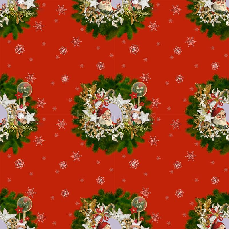 Sömlös modell på jul theme-3 royaltyfri foto