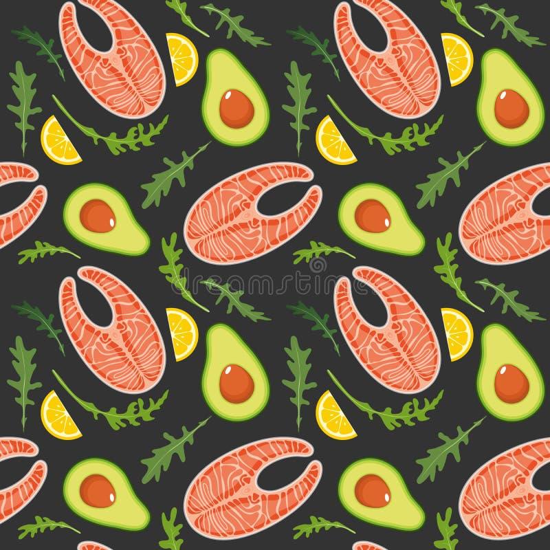 S?ml?s modell p? m?rk bakgrund med den lax-, avokado-, arugula- och citronskivan R?d fisk- och avokadobakgrund stock illustrationer