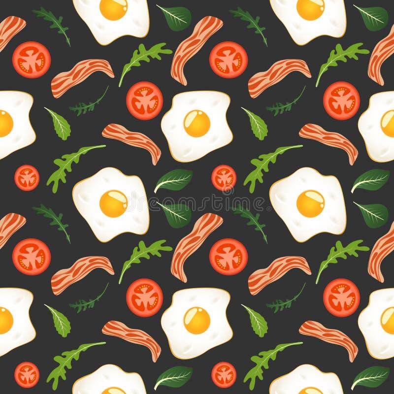 S?ml?s modell p? m?rk bakgrund med stekte ?gg, bacon, tomater och gr?nsallat Omelett f?rvanskade ?gg Pannkakor med driftstopp och stock illustrationer
