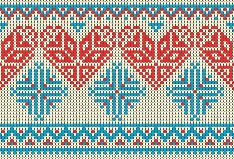 Sömlös modell på temat av dagen för ferievalentin` s med en bild av norrman- och fairislemodellerna Röd hjärta, turquois royaltyfri illustrationer
