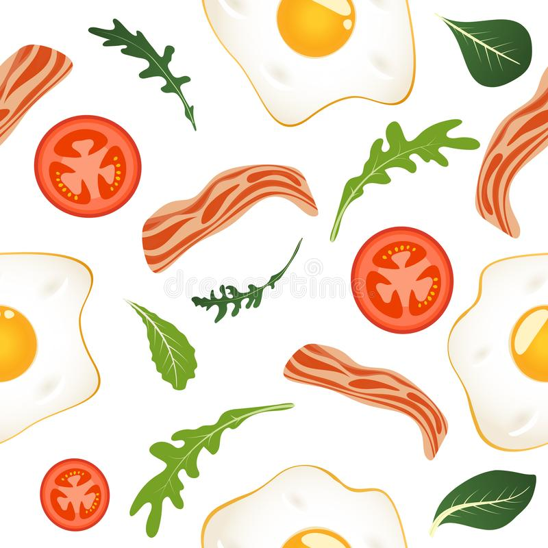 S?ml?s modell p? vit bakgrund med stekte ?gg, bacon, tomater och gr?nsallat Omelett f?rvanskade ?gg frukost vektor illustrationer