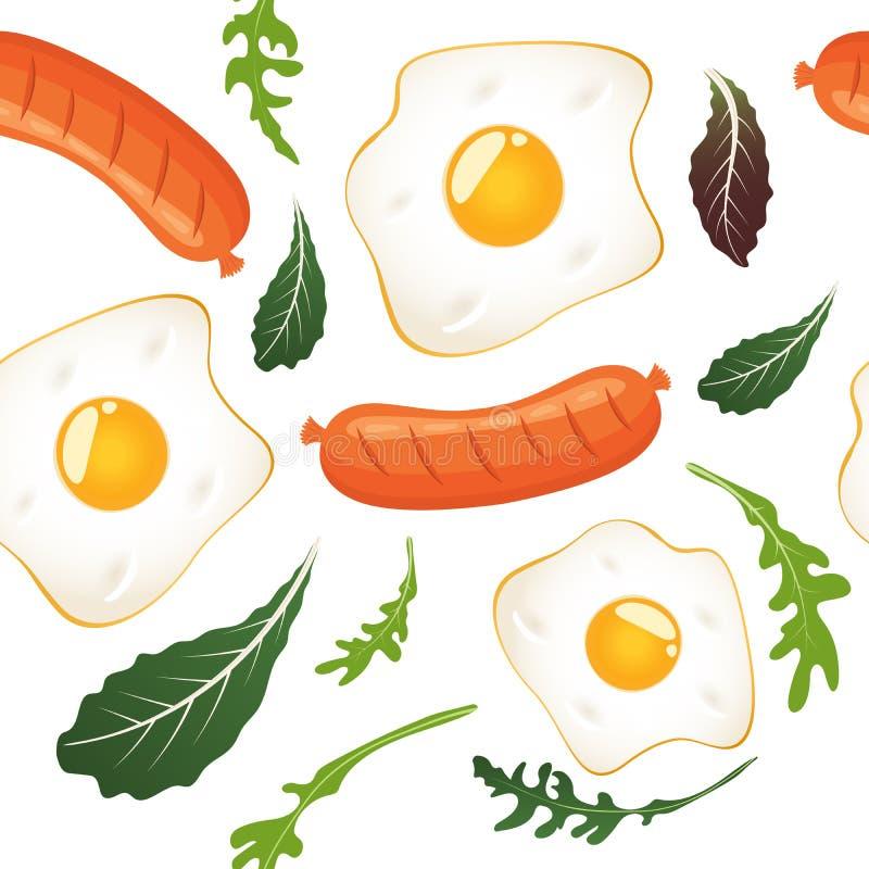 S?ml?s modell p? vit bakgrund med stekte ?gg, korvar och gr?nsallat Omelett f?rvanskade ?gg Pannkakor med driftstopp och bl?b?r royaltyfri illustrationer
