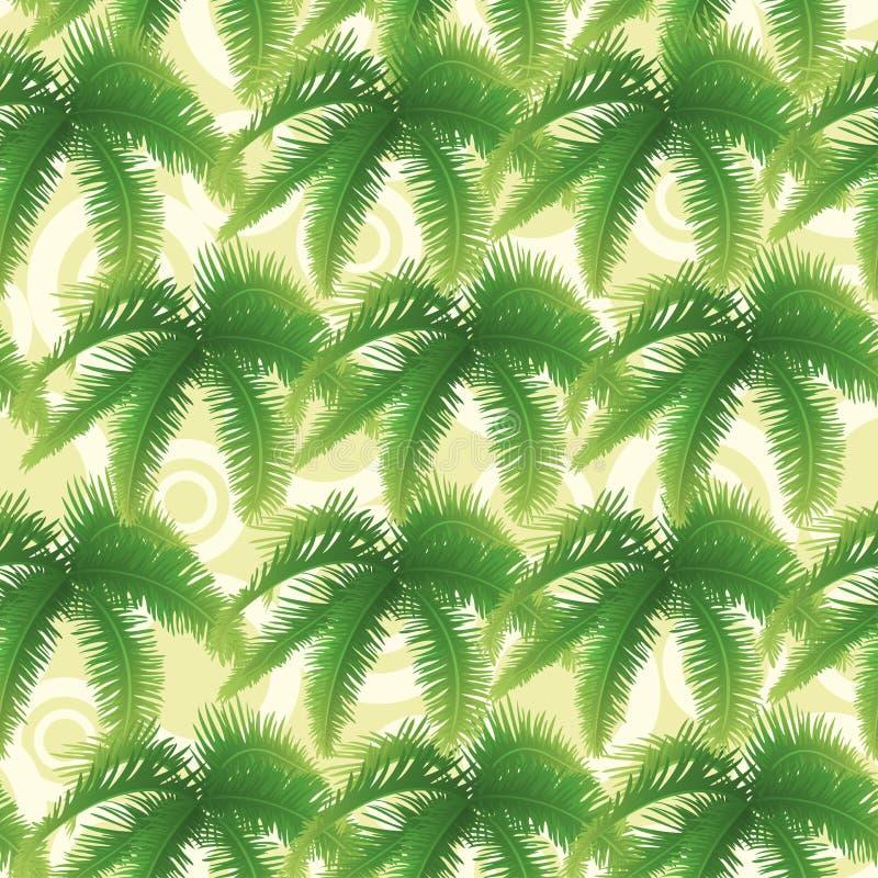 Sömlös modell, palmblad stock illustrationer