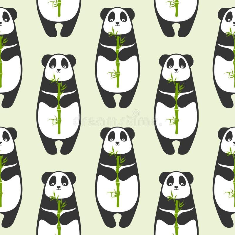 Sömlös modell - panda med bambu royaltyfri illustrationer