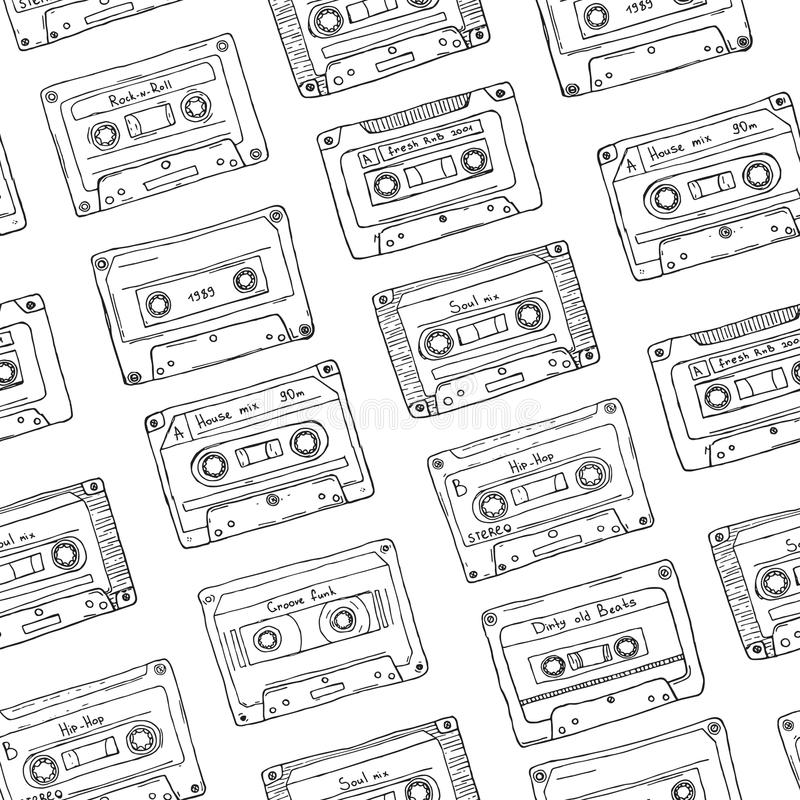 Sömlös modell, plast- kassett, ljudband med olik musik Hand dragen konturbakgrund, retro stil royaltyfri illustrationer