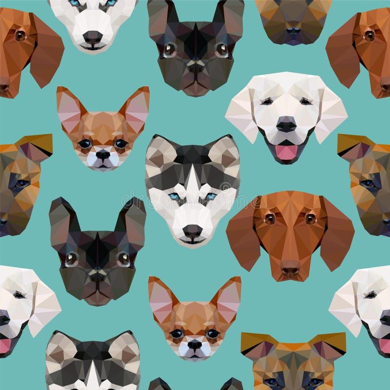 Sömlös modell - polygonal hundkapplöpning royaltyfri illustrationer