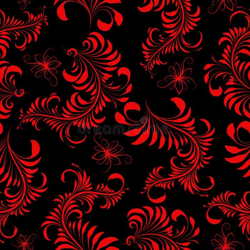 Sömlös modell, röd målning, hohloma på svart bakgrund, stock illustrationer