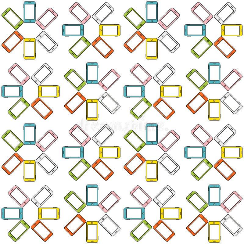 Sömlös modell som göras av den färgrika mobiltelefonen, ljusa färger royaltyfri illustrationer