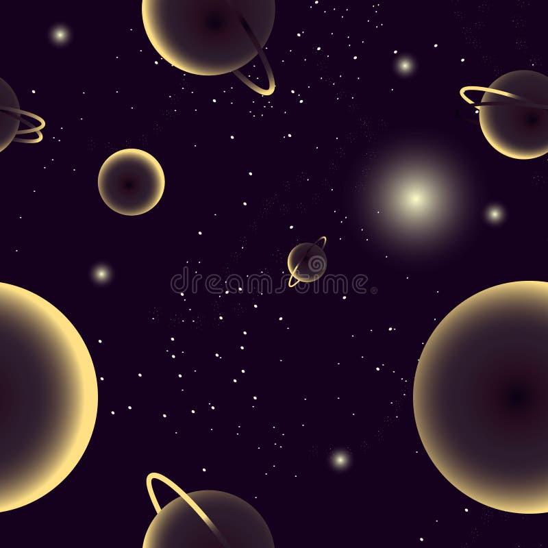 Sömlös modell som visar kosmos, galaxen med stjärnor, planeter och andra utrymmeobjekt royaltyfri illustrationer