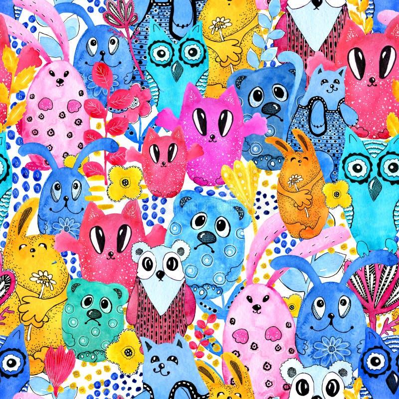 Sömlös modell, tecknad filmtecken i stilen av kawaiien med bilden av djur, fåglar och blommor Design vektor illustrationer