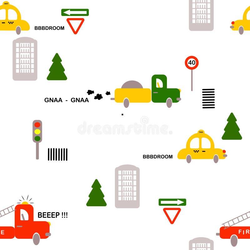Sömlös modell: transport: bilar brandmän, lastbil, tecken, hus, träd på en vit bakgrund Plan vektor royaltyfri illustrationer