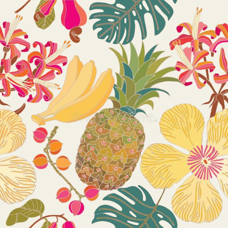 Sömlös modell, tropiska blommor vektor illustrationer