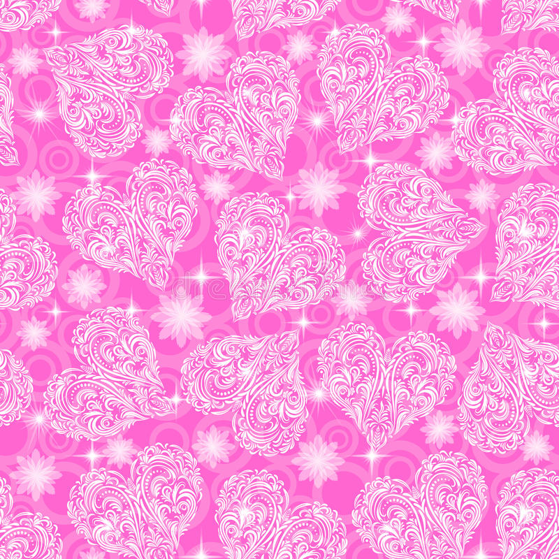 Sömlös modell, Valentine Hearts stock illustrationer