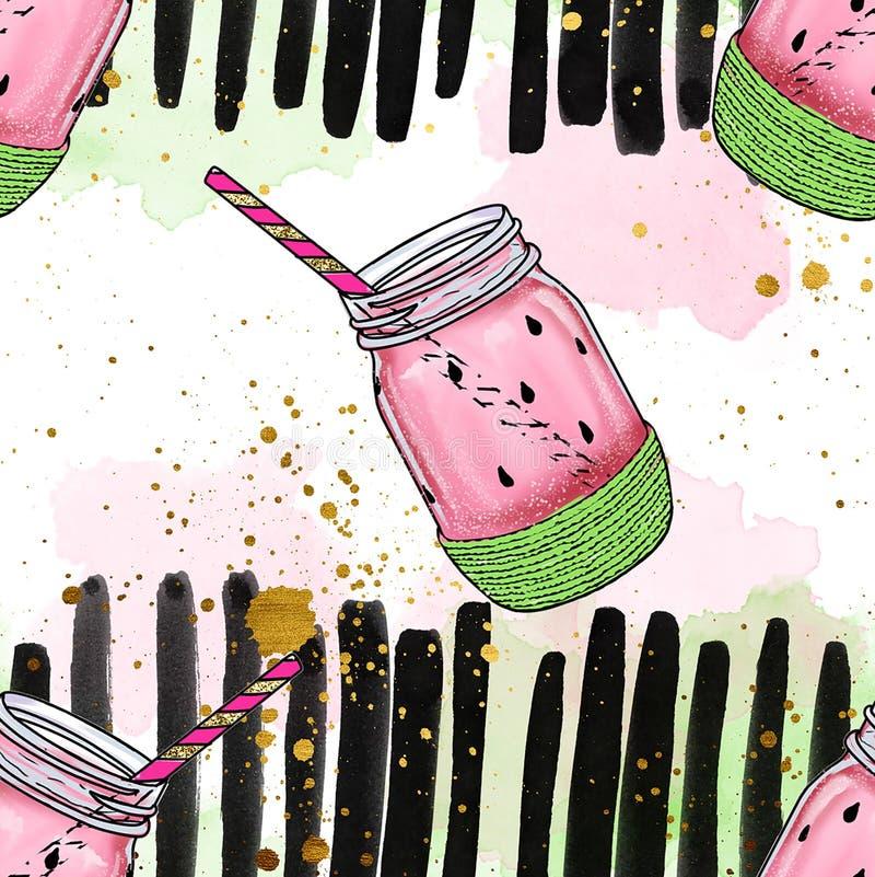 Sömlös modell - vattenmelon skorrar med sugrör, på vattenfärgborstebakgrund royaltyfri illustrationer