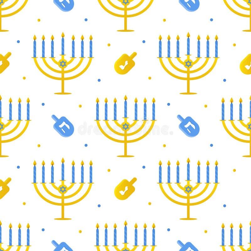 Sömlös modellbakgrund för Chanukkah med menoror och dreidel stock illustrationer