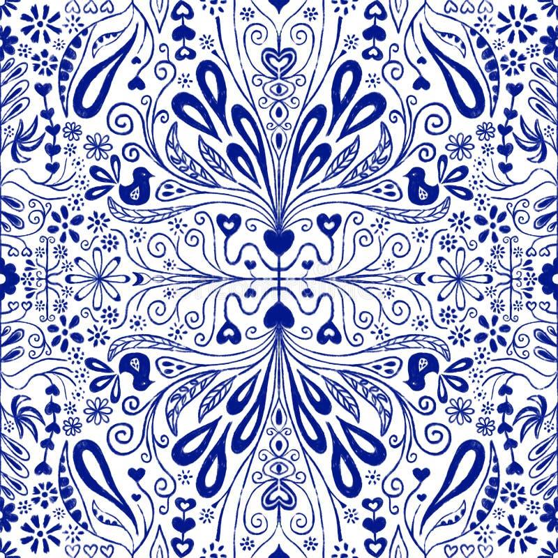 Sömlös modellbakgrund för Chinoiserie Blå och vit upprepande tegelplatta med folkkonstblommor, sidor, hjärtor och fåglar Bruk för vektor illustrationer