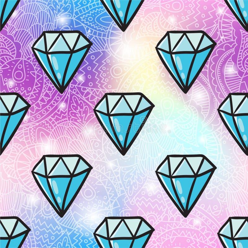 Sömlös modellbakgrund för diamant royaltyfri illustrationer