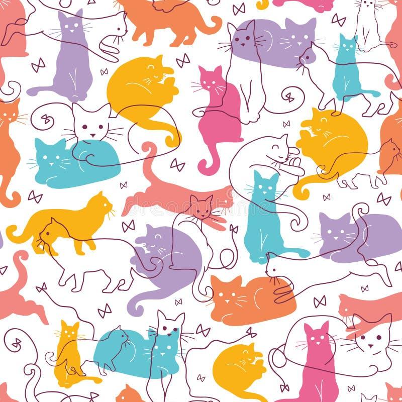 Sömlös modellbakgrund för färgrika katter vektor illustrationer