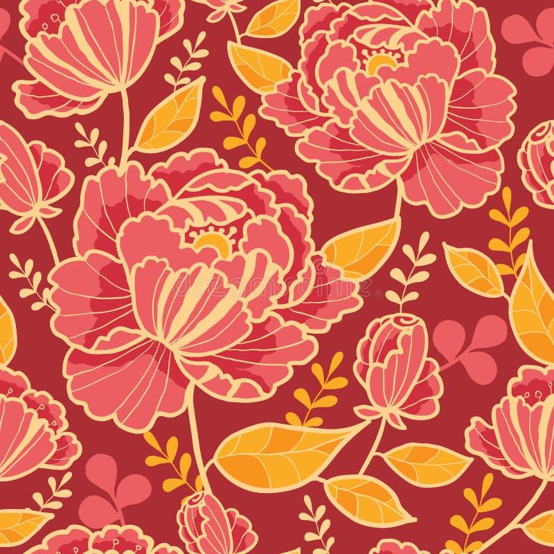 Sömlös modellbakgrund för guld- och röda blommor stock illustrationer