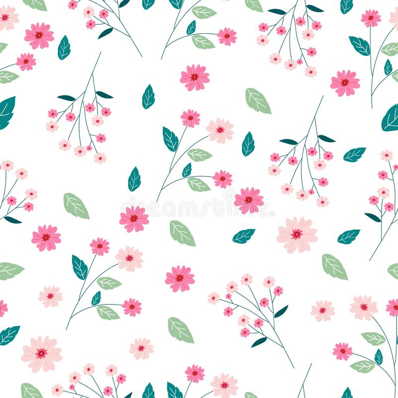 Sömlös modellbakgrund för gullig rosa blomma stock illustrationer