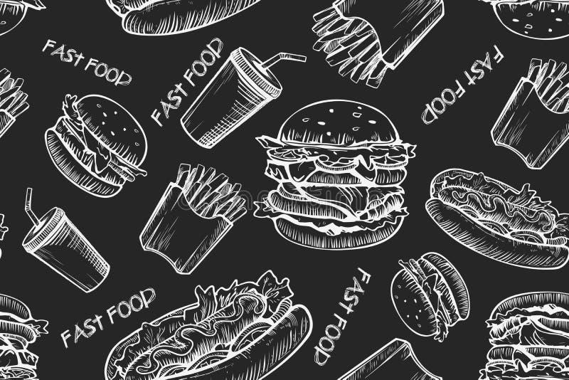 Sömlös modellbakgrund för hamburgare Utdragen hamburgare för hand och franska småfiskar Snabbmat skräpmatmodell amerikansk mat royaltyfri illustrationer