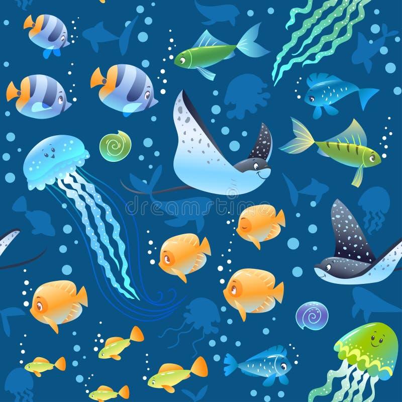 Sömlös modellbakgrund för hav med den härliga tecknad filmfisken, sköldpaddan och annat simma som är undervattens- Kyla tapeten stock illustrationer