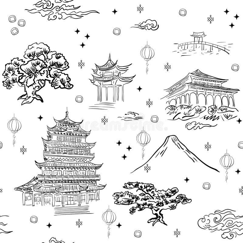 Sömlös modellbakgrund för kinesiskt landskap med handdrownbeståndsdelar stock illustrationer