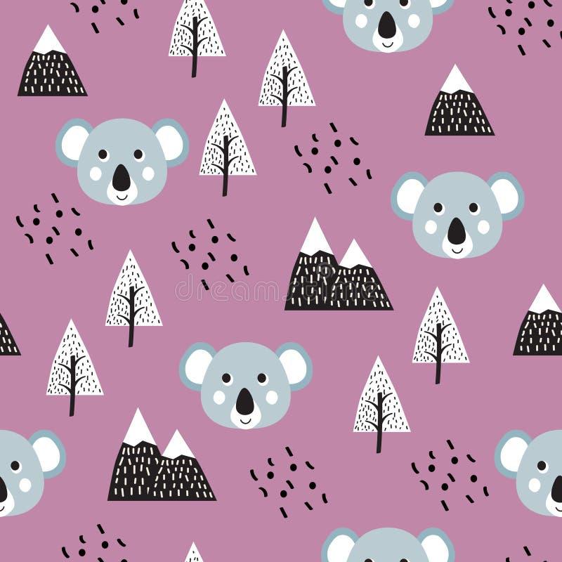Sömlös modellbakgrund för koala vektor illustrationer