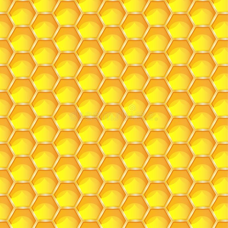 Sömlös modellbakgrund för ljus gul honungskaka Sexhörniga prismatiska vaxceller som byggs av honungbin i deras reden eps 1 stock illustrationer