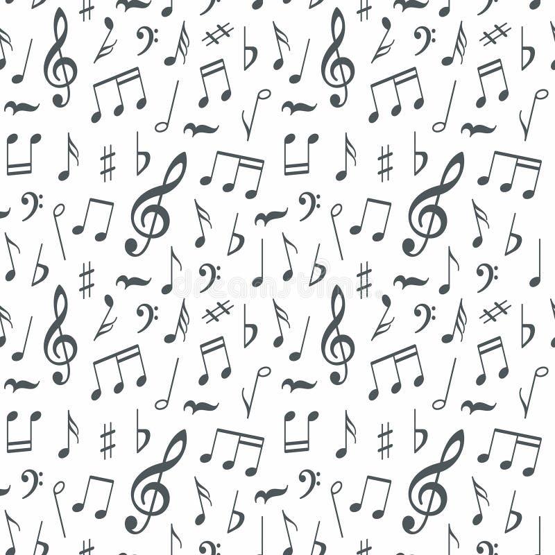 Sömlös modellbakgrund för musikaliska anmärkningar stock illustrationer