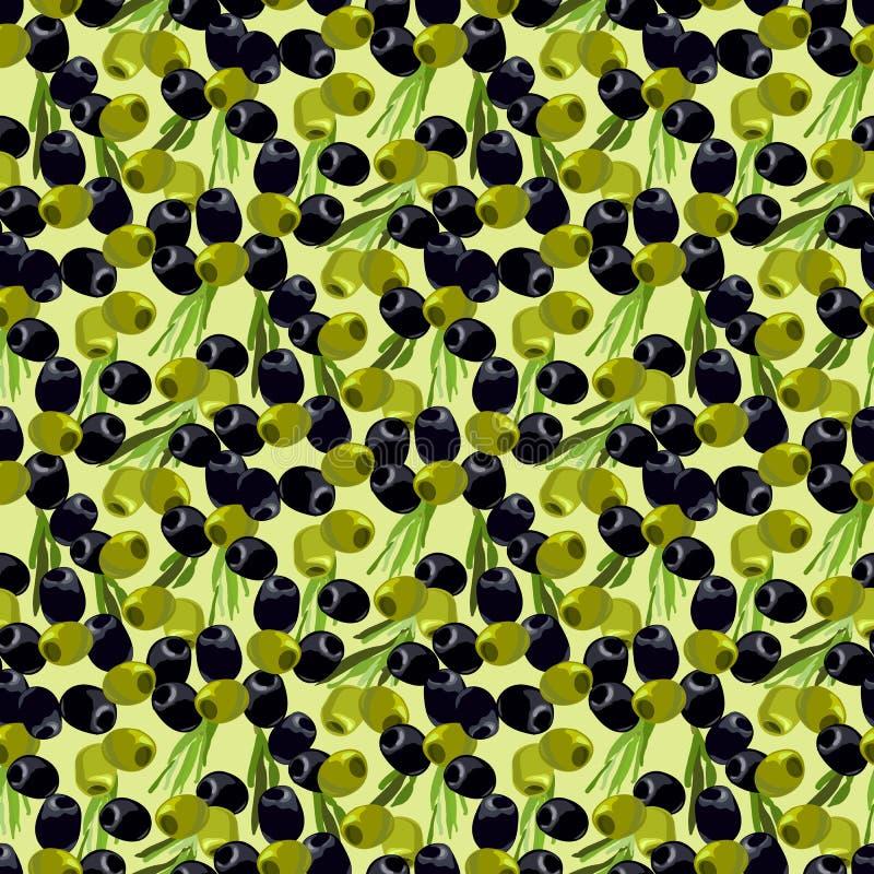 Sömlös modellbakgrund för oliv stock illustrationer