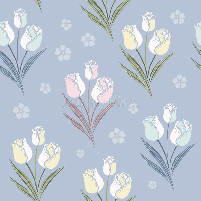 Sömlös modellbakgrund för Retro tulpan stock illustrationer