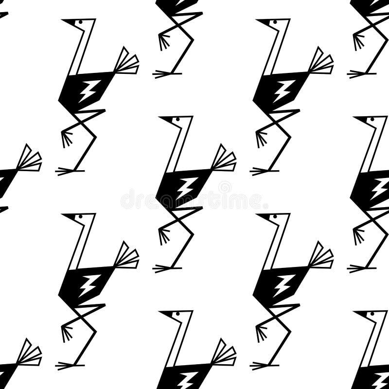 Sömlös modellbakgrund för roliga strutsar stock illustrationer