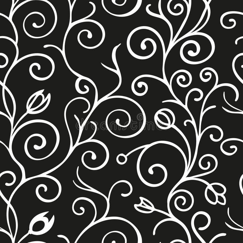 Sömlös modellbakgrund för svartvit vektor med snirkelprydnaden Tappningbeståndsdel för design i linjen konststil royaltyfri illustrationer