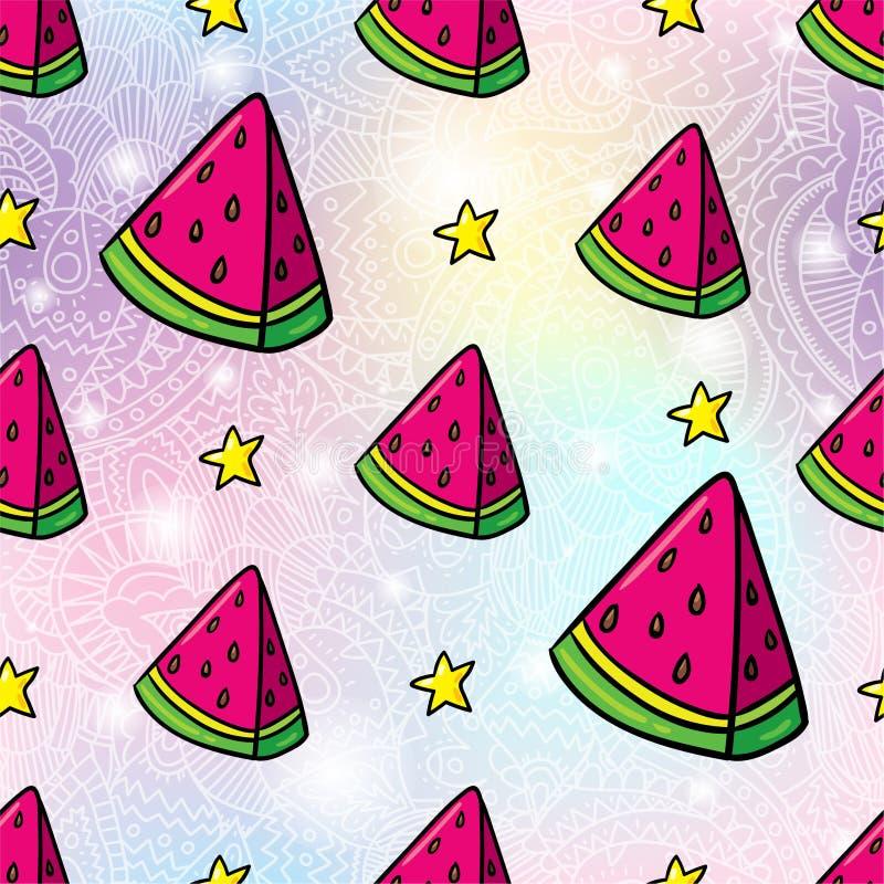 Sömlös modellbakgrund för vattenmelon vektor illustrationer