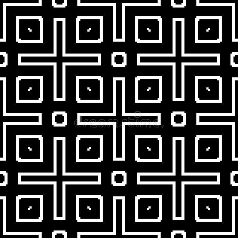 Sömlös modellbakgrund i svartvitt Tappning och retro abstrakt dekorativ design Enkel lägenhet arkivfoton
