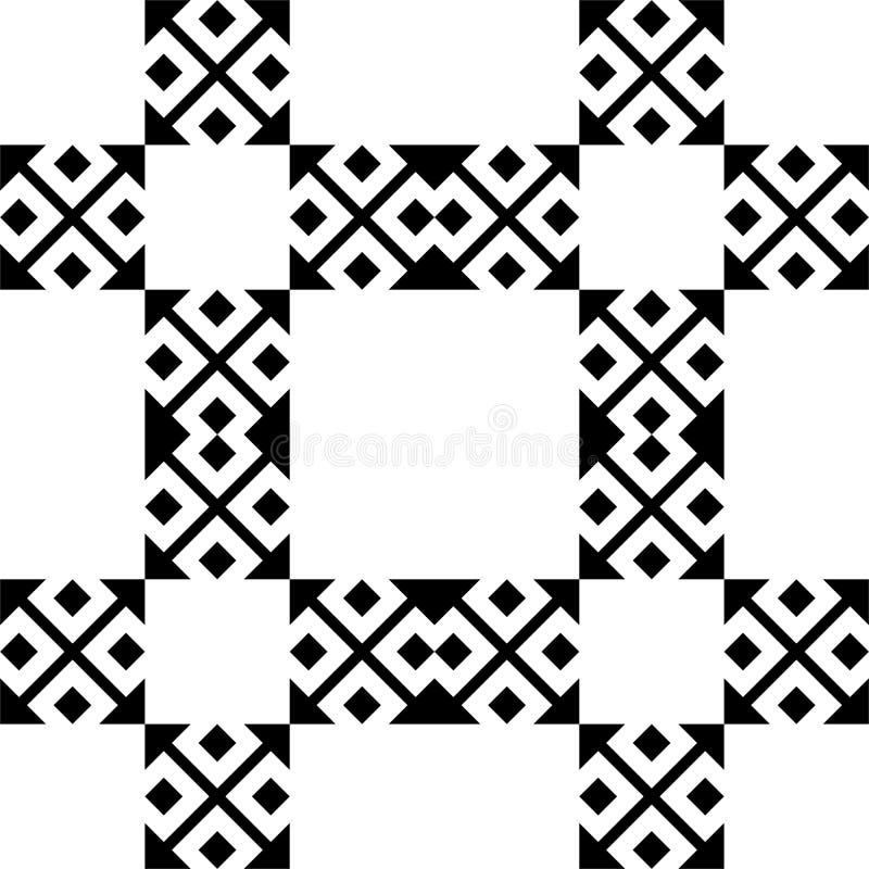 Sömlös modellbakgrund i svartvitt Tappning och retro abstrakt dekorativ design Enkel lägenhet arkivbild